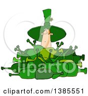 Clipart Of A Cartoon St Patricks Day Leprechaun Deep In A Pile Of Bottles Royalty Free Vector Illustration