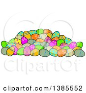 Clipart Of A Pile Of Decorated Easter Eggs Royalty Free Vector Illustration