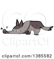 Clipart Of A Cartoon Wolf Sniffing Royalty Free Vector Illustration by lineartestpilot