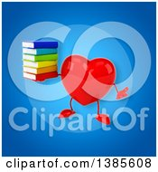 Clipart Of A 3d Heart Character On A Blue Background Royalty Free Illustration