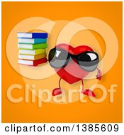 Clipart Of A 3d Heart Character On An Orange Background Royalty Free Illustration