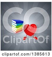 Clipart Of A 3d Heart Character On A Gray Background Royalty Free Illustration