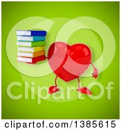 Clipart Of A 3d Heart Character On A Green Background Royalty Free Illustration