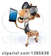 Poster, Art Print Of 3d Business Giraffe Talking On A Smart Phone On A White Background