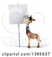 Poster, Art Print Of 3d Business Giraffe On A White Background