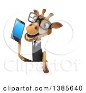Poster, Art Print Of 3d Business Giraffe Holding A Smart Phone On A White Background