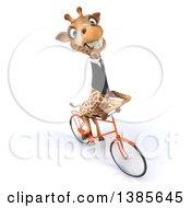 Poster, Art Print Of 3d Business Giraffe Riding A Bike On A White Background