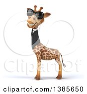 Poster, Art Print Of 3d Business Giraffe Wearing Sunglasses On A White Background