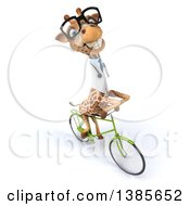 Poster, Art Print Of 3d Bespectacled Doctor Or Veterinary Giraffe Riding A Bicycle On A White Background