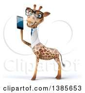 Poster, Art Print Of 3d Bespectacled Happy Doctor Or Veterinary Giraffe Facing Left And Talking On A Smart Phone On A White Background