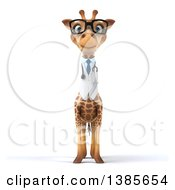 Clipart Of A 3d Doctor Giraffe Wearing Glasses On A White Background Royalty Free Illustration by Julos