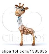 Poster, Art Print Of 3d Doctor Giraffe Wearing Glasses On A White Background
