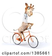 Poster, Art Print Of 3d Doctor Giraffe Riding A Bike On A White Background
