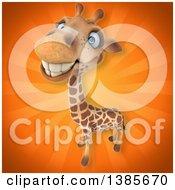 Poster, Art Print Of 3d Giraffe On An Orange Background