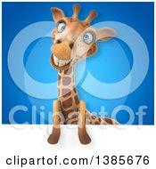 Poster, Art Print Of 3d Giraffe On A Blue Background