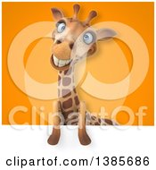 Poster, Art Print Of 3d Giraffe With A Sign Over Orange