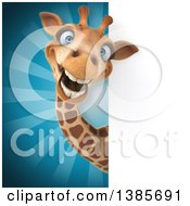 Poster, Art Print Of 3d Giraffe With A Sign Over Rays