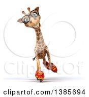 Poster, Art Print Of 3d Giraffe Roller Blading On A White Background