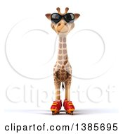 Clipart Of A 3d Giraffe Roller Blading On A White Background Royalty Free Illustration