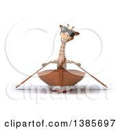 Poster, Art Print Of 3d Giraffe Rowing A Boat On A White Background