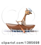 Poster, Art Print Of 3d Sailor Giraffe Rowing A Boat On A White Background