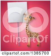 Poster, Art Print Of 3d Giraffe On A Pink Background