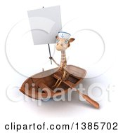 Poster, Art Print Of 3d Giraffe Sailor Rowing A Boat On A White Background