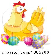 Yellow Hen Chicken Surrounded With Decorated Easter Eggs