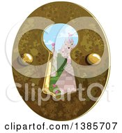 Clipart Of A Castle Garden Through A Key Hole Royalty Free Vector Illustration by Pushkin