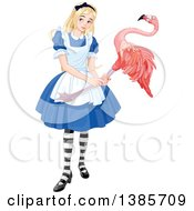 Clipart Of Alice Holding A Flamingo And Playing Croquet Royalty Free Vector Illustration