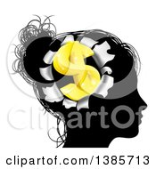 Black Silhouetted Womans Head With A 3d Gold Dollar Symbol Breaking Out