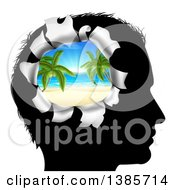 Clipart Of A Black Silhouetted Mans Head Thinking Of Vacation With A Hole Showing A 3d Tropical Beach Royalty Free Vector Illustration
