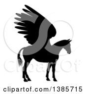 Clipart Of A Black Silhouette Of A Winged Pegasus Horse In Profile Royalty Free Vector Illustration by AtStockIllustration