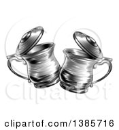 Clipart Of Black And White Woodcut Or Engraved Beer Steins Or Tankards Chinking Together In A Toast Royalty Free Vector Illustration