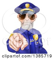 Clipart Of A Tough And Angry White Male Police Officer Wearing Sunglasses And Pointing Outwards Royalty Free Vector Illustration