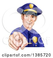 Clipart Of A Happy White Male Police Officer Pointing Outwards Royalty Free Vector Illustration