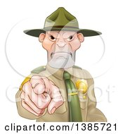 Clipart Of A Tough And Angry White Male Forest Ranger Pointing Outwards Royalty Free Vector Illustration by AtStockIllustration