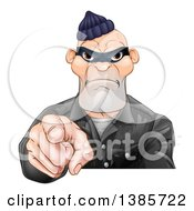 Clipart Of A Tough And Angry White Male Robber Pointing Outwards Royalty Free Vector Illustration