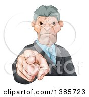 Clipart Of A Tough And Angry Caucasian Business Man Pointing Outwards A Boss Pointing At An Employee Royalty Free Vector Illustration