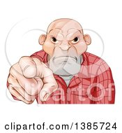 Clipart Of A Tough And Angry White Male Skin Head Pointing Outwards Royalty Free Vector Illustration by AtStockIllustration