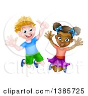 Clipart Of A Cartoon Happy Excited White Boy And Black Girl Jumping Royalty Free Vector Illustration by AtStockIllustration