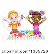 Poster, Art Print Of Cartoon Happy White And Black Girls Sitting On The Floor And Painting With Their Hands