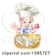 Clipart Of A Cartoon Happy White Girl Wearing A Chef Toque Hat And Making Star Cookies Royalty Free Vector Illustration by AtStockIllustration
