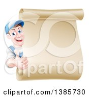 Happy Brunette Middle Aged Caucasian Mechanic Man In Blue Giving A Thumb Up Around A Blank Scroll Sign