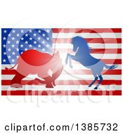 Clipart Of A Silhouetted Political Aggressive Democratic Donkey Or Horse And Republican Elephant Battling Over An American Flag And Burst Royalty Free Vector Illustration by AtStockIllustration