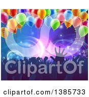 Clipart Of A Crowd Of Silhouetted People Hands Over Neon Lights On Blue With Party Balloons Royalty Free Vector Illustration