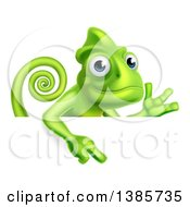 Happy Chameleon Lizard Waving Or Presenting And Pointing Down Over A Sign