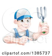 Clipart Of A Young Brunette White Male Gardener In Blue Holding A Garden Fork And Pointing Over A Sign Royalty Free Vector Illustration