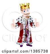 Clipart Of A Happy Caucasian King Giving Two Thumbs Up Royalty Free Vector Illustration by AtStockIllustration