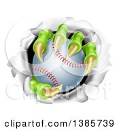 Clipart Of Monster Claws Holding A Baseball And Ripping Through A Wall Royalty Free Vector Illustration by AtStockIllustration